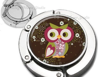 Owl with Heart on Sleeve Foldable Purse Hook Bag Hanger With Lipstick Compact Mirror