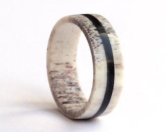 Antler Ring, Ebony Ring, Mens Ring, Wedding Ring,  Deer Antler and Ebony Wedding Band