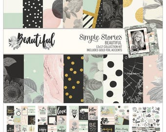 Simple Stories Beautiful Collection Kit 12x12 Includes Gold Foil Accents