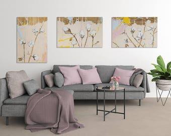 Set of 3 Canvas, Botanical Canvas, Blush pink decor, Botanical print set,  botanical poster, cotton illustration #903BO #904BO #905BO