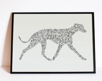 "The Whippet Story - with dog doodles inside the silouhette - traits personnality - Hand signed - 8""x12"" or 12""x16"" - A4 - A3"