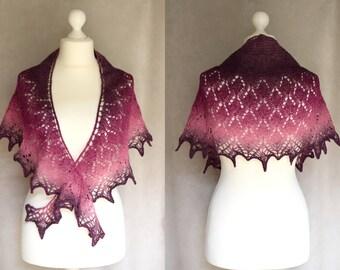 Purple fuchsia pink wool shawlette, womens scarf,  lace shouldercover, warm shawl, crescent shape