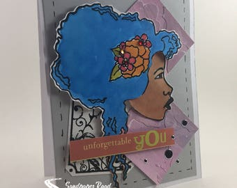 "Black woman with blue hair - ""Unforgettable You"" greeting card"