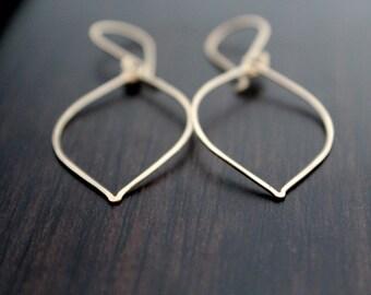 Gold Leaf Earrings - Hoops In 14K Gold Filled , Minimalist Jewelry , Bohemian Fashion , Boho Hoop Earrings