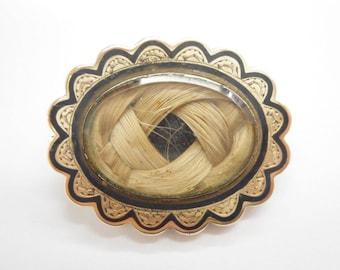 Hair Brooch, Victorian Brooch, Edwardian Brooch, Gold Brooch, Vintage Victorian Edwardian 10K Yellow Gold Hair Mourning Brooch #4214