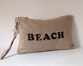 Hand bag Natural linen Wristlet  clutch Hand painted letters FREE SHIPPING