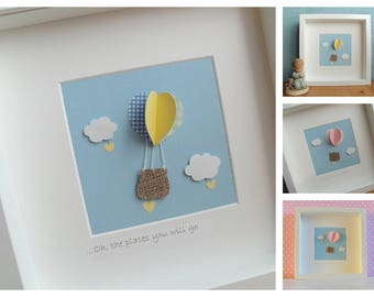 Hot Air Balloon Nursery Decor, Personalised New Baby Gift, Personalised Christening Gift, Baby Boy Gift, Baby Girl Gift, Nursery Wall Art