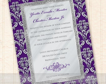 wedding invitations, royal purple wedding invitations, silver wedding invitations, silver wedding package, eggplant bridal shower, IN624
