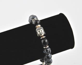 Men natural gemstones and Buddha bracelet