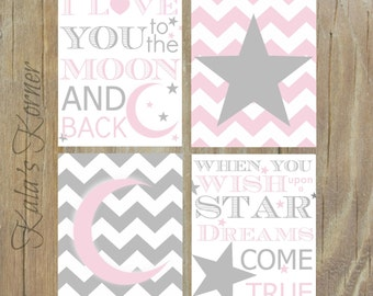 MOON And STARS NURSERY - Pink Gray Nursery - Pink Gray Chevron -  Playroom Wall Art - Girl Nursery Decor - Moon And Stars Print