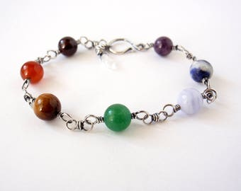 Chakra Bracelet ~ Handcrafted with Eco-Recycled Sterling Silver ~ 8mm Round Chakra Crystals ~ Rainbow Gemstone Magick ~ Good Vibes ~ Balance