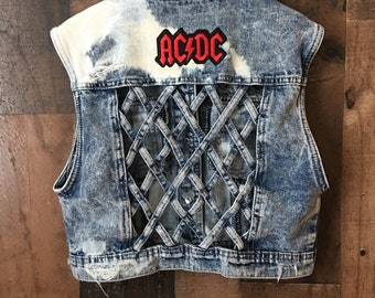 AC/DC Girls Patched Vest - Small 6/7 - rock n roll - kids band vest - distressed - grunge - reworked.