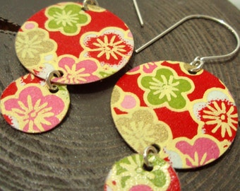 Pink and Red Cherry Blossom Double Chandelier Earrings