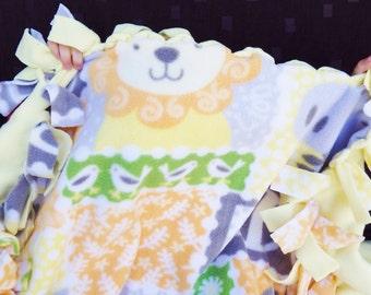 Unisex Baby Quilt, Yellow Green No Sew Blanket, Lion Zebra Hippo ABC Cuddle Blanket, Gender Neutral Baby Gift