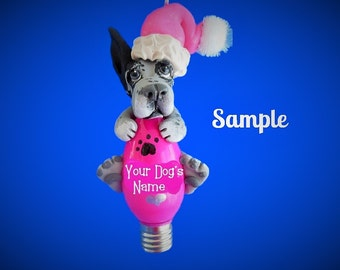 Blue Merle Great Dane Santa cropped ears Christmas Holidays Light Bulb Ornament Sally's Bits of Clay PERSONALIZED FREE with dog's name