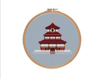 Wong Tai Sin temple, Hong Kong, Xstitch pattern, Chinese cross stitch, China cross stitch, Asian cross stitch, Easy cross stitch PDF pattern