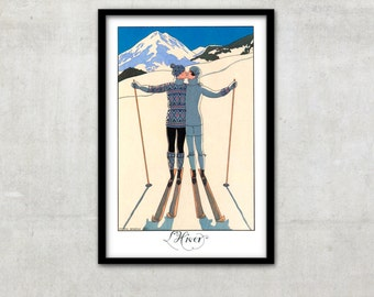 "Art Deco print vintage style fashion illustration, ""L'Hiver"" by George Barbier, IL011."
