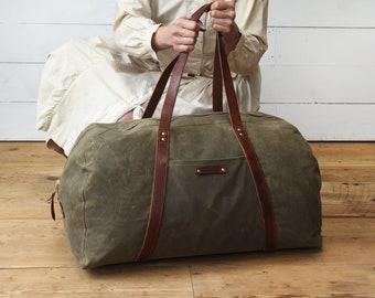 Waxed Canvas Weekender Bag, Truffle, Waxed Canvas Bag, Overnight Bag, Luggage & Travel Bag, Canvas Duffle Bag, Travel Bag, Gift for Him