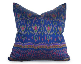 Vintage Silk Pillows, Ikat Pillow Covers, Silk Ikat Pillow, Bohemian Pillow Cover, Blue Throw Pillows, Sapphire, Ethnic Pillows, 18, 20, NEW
