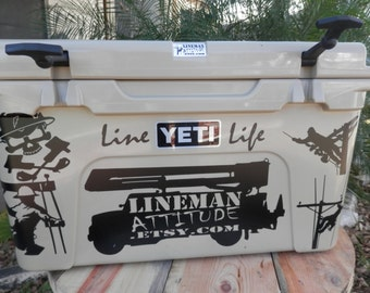 A SET of 6 DECALS Pictured Line Life Lineman Bucket Truck Skull Images to fit a 45