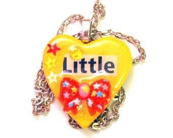 Kawaii Necklace - Kawaii Cabochon - Bow Necklace - Pendant Necklace - Heart Pendant - Wood Pendant