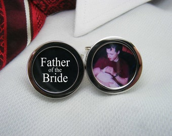 Father of the Bride Cufflinks - With a picture are the ideal wedding gift for your brides dad.