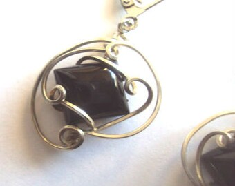 Wire Wrap Black Onyx Puffed Square Earrings in Sterling Silver