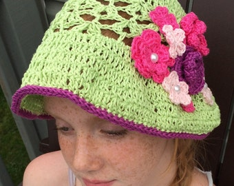 Women sun hat, Crochet summer hat, summer flower hat, crochet cotton hat, green sunhat, cotton chemo hat, lightweight knit hat, beach hat