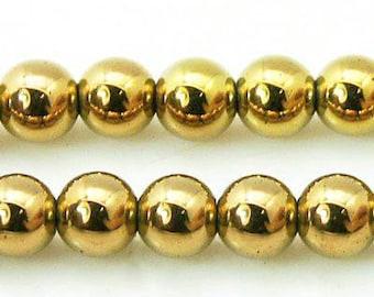 6mm Hematite Beads Golden Round Golden Hematite 6mm Golden Beads 6mm Hematite Gemstone Hematite Genuine Hematite Natural Hematite