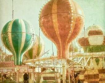 Hot Air Balloon Carnival Photography, baby nursery print, county fair home decor - red, mint