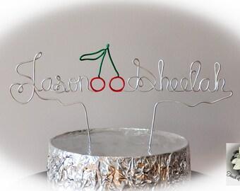 MR&MRS + CHERRIES Wire Name Cake Topper / Custom Design Cake Topper
