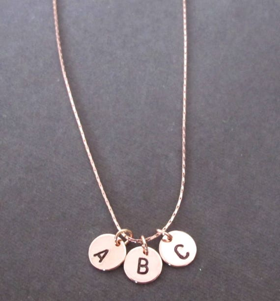 Rose Gold Initial Necklace,Personalized Initial Necklace, Hand Stamped Initial Disc Necklace,Chrstmas git,Friendship Gift, Free Shipping USA