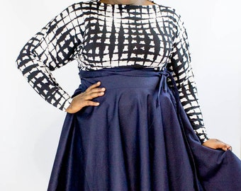 "Plus Size High Waist Full Flared Wrap Skirt Midi ( 2 - 24 ) 30"" L"