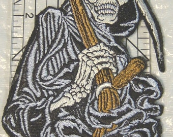 "Detailed Grim Reaper - Angel of Death - Muerto - Machine Embroidered Iron on Applique/Patch - 2 Sizes  6"" x 3.5"" and 12"" x 6.5"""