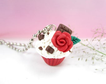 I love You Cupcake Necklace, miniature food necklace jewelry polymer clay red rose chocolate gift for her charm pendant cute costume gifts