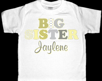 Adorable Gray and Yellow Chevron and Polka Dots Big Sister Shirt - Personalized with ANY name