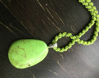 Hand sewn beaded necklace chartreuse egg shape pendant