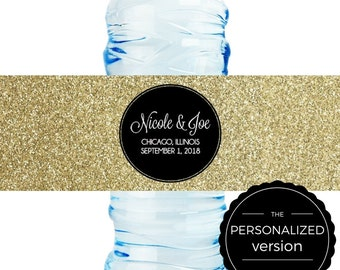 Personalized Gold Glitter and Black Wedding Water Bottle Label - 8 x 2 in. - sets of 25 labels
