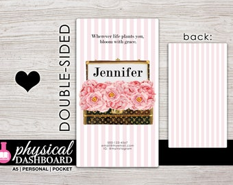 Personalized Planner Dashboard - A5 - Personal - Pocket Size - Laminated and Punched - Design: #1