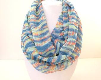 Colorful Infinity Scarf, Waves Scarf, Chiffon Infinity Scarf, Printed Scarves, Silk Infinity Scarf, Fall Scarf, Blue and Orange Scarf