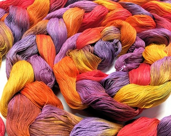 Summer In the Vineyard - Hand Dyed Weaving Warp - Pre-Wound 12 yards - 530 ends - 10/2 Egyptian Cotton - Hand Painted Yarn