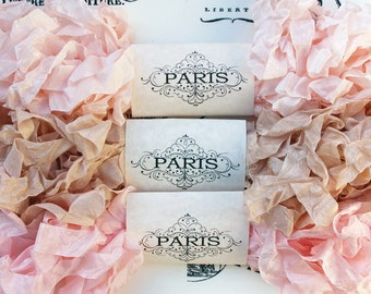 Seam Binding, Scrunched Shabby Crinkled Ribbon,Rayon Ribbon,Blush Pink,French Vintage Junk Journals,Crazy Quilting,Doll Making Paris Cabaret