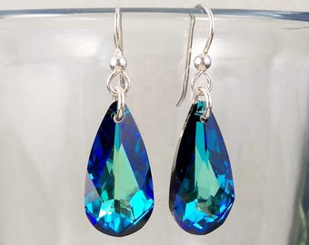 Swarovski Bermuda Blue Long Teardrop Earrings on Sterling Silver Hooks, Ocean Blue Green Crystal Jewelry