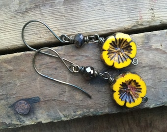 Sunshine Yellow Pansy Czech Glass Flower Earrings with Darkened Brass Wire and Brown Faceted Glass Rondelles