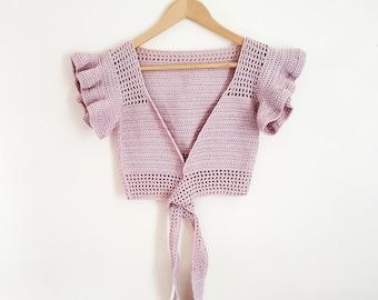 Crochet Wrap Around Crop Top/Crochet Ballerina Crop Top/Crochet Bohemian Festival Crop Top
