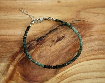 Emerald Bracelet - Ombre Bracelet - Gemstone Bracelet - May Birthstone Bracelet - Shaded Emerald - Natural Emerald - 20th Anniversary Gift