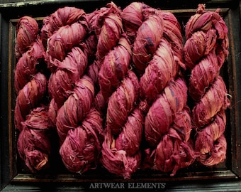 Pure Sari Silk, Pomegranate Mix, 100g Skein, Recycled Sari Silk, Fair Trade, Textile, Ribbon, Yarn, Silk, Sari silk, ArtWear Elements, 217A