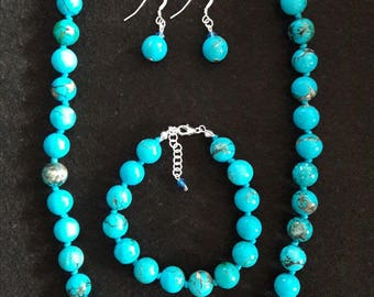 Turquoise Necklace, bracelet and earrings (set)