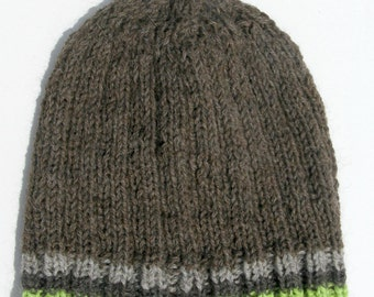 Knit Wool Hat for Men or Women, Wool Handmade Beanie