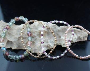 Vintage Art Deco bracelet bracelets set of 4 bracelets beads multicolor big small  glass beads stretch Modernist dd26